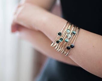 Moon Phase Stacker Bracelets - Stacking Set of Gold and Silver Lunar Phase Bracelets - Outer Space Jewelry - Galaxy Jewellery - Bangles