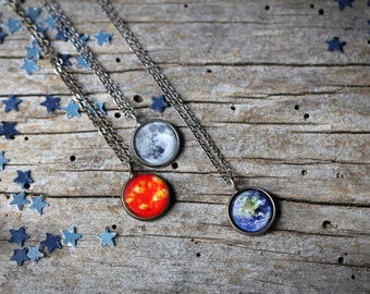 OVERSTOCK SALE Surprise Galaxy Space Pendant - Sellers Choice- Petite Solar System Planet and Nebula Necklace - Outer Space