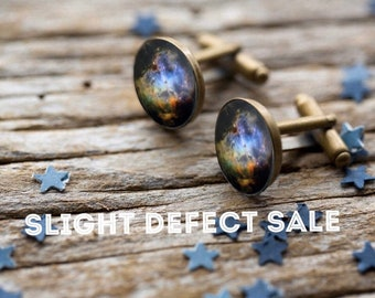 SLIGHTLY DEFECTIVE Galaxy Cuff Links - Silver or Bronze - Simple Solar System Planet and Nebula Cufflinks - Space Accessories Groomsmen Gift