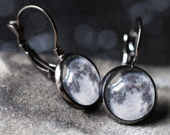Birth Moon Phase Earrings - Stud, Dangle, Leverback - Custom Moon Jewelry, Unique Bridal Party Gift