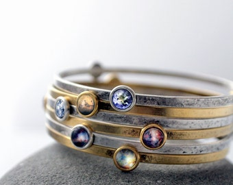Stacking Bracelets- Galaxy Space stacked Bangles - Universe Jewelry - Petite Solar System Planet and Nebula Bracelet - Space Jewellery