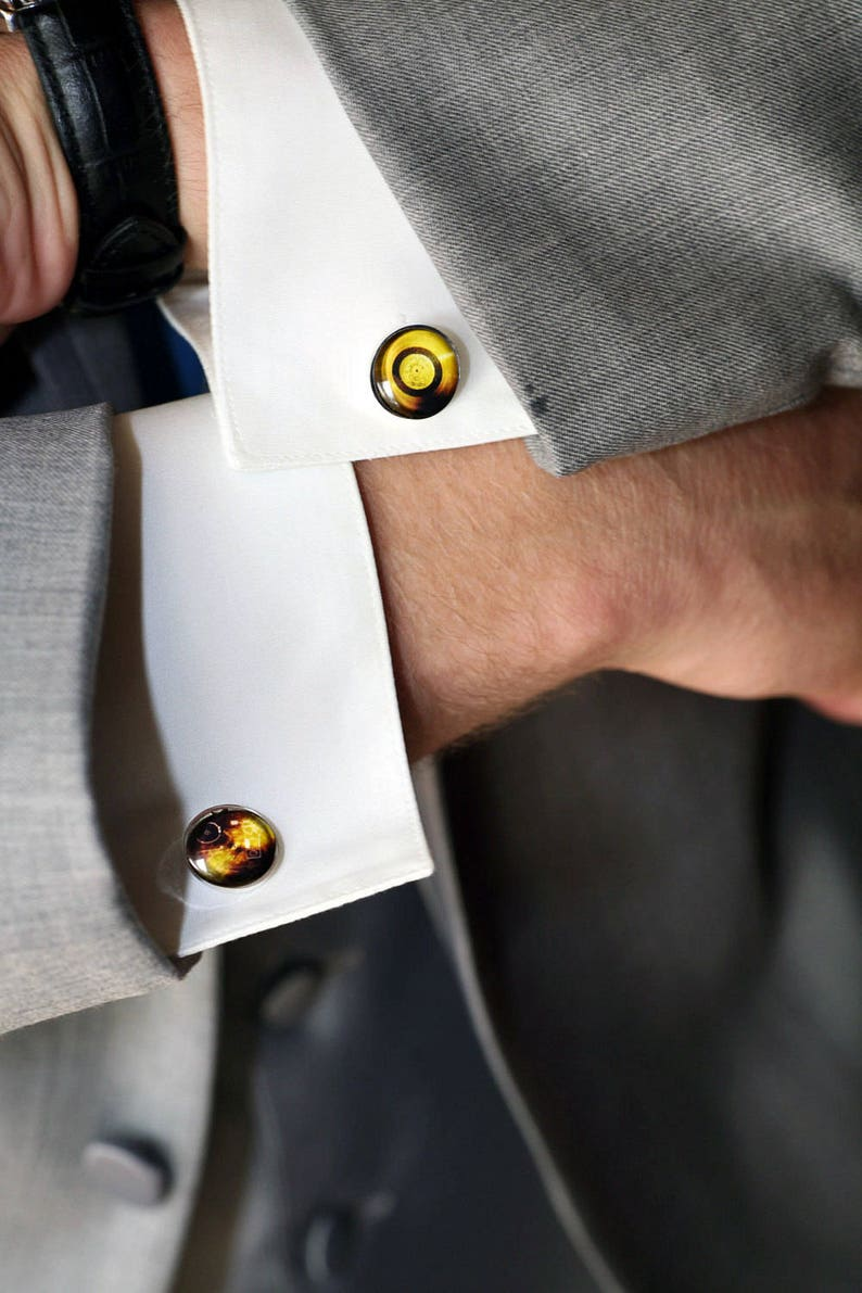 NASA Planetary Society Voyager Golden Record Cufflinks Sounds of Earth Gold Disc- Voyager Space Probe Cuff Links- Mens Science Accessory