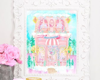 Little Pink Christmas Bakery Shoppe Fineart Print