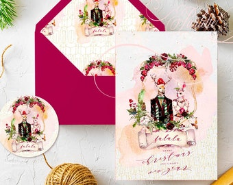 Fa la la Mr. and Mrs. Dear Rabbit Merry Christmas Cards with Lined Envelopes
