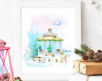 Christmas Eve Winter Gazebo Garden Fineart Print