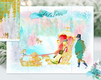 Marie Antoinette Christmas Swan Sleigh Promenade Diorama Cards Set of Four with Shimmer Envelopes