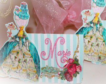 Marie Antoinette Bleu Cakes and Pink Rose Tea Die Cut Placecards Set of 6