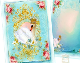 The Swan Queen Set of 6 Cards or Invitations with White Shimmer Envelopes