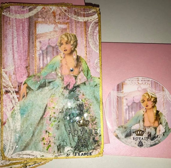 Marie Antoinette Royal Paparazzi Versailles Set of Six Beautifully Glittered Notecards with Shimmering Aqua Envelopes
