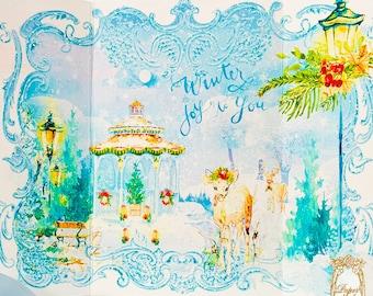 Christmas Eve Snowy Gazebo Winter Garden Gatefold Cards and Shimmer Snow White Envelopes Set of Four