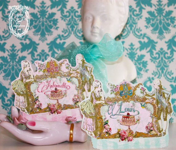 Marie Antoinette Style Placecards Let Them Eat Cake French Etsy