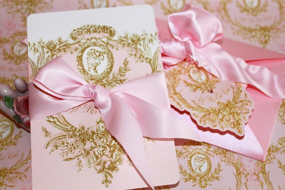 Wedding Invitations Marie Antoinette Pink And Gold Cameo