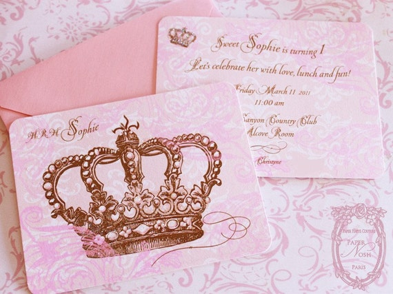 Princess Crown Invitations Set Includes Pink Shimmering Etsy