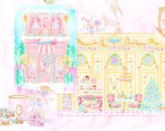 Gatefold Pink Christmas Patisserie Shoppe Diorama Cards Set of Four with Pink Shimmer Envelopes and Seals