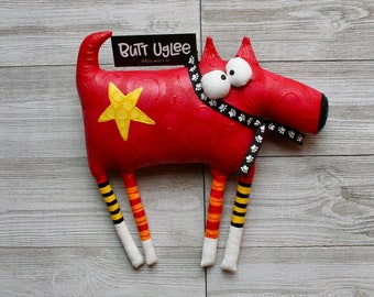 BuTT UgLee Dog named ArcHie, WhiMsicaL WaLL ArT, Red Dog with bold yellow StaR, great gift for dog lover, OOAK soft sculpture, DoG LoVeR