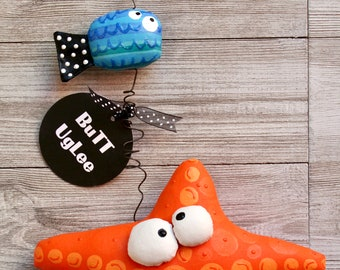 BuTT UgLee StarFish NaMed Abigale with BFF Otis the fish,Soft Sculpture Fish,Vibrant Colors, quirky humorous home decor, Orange polka dots