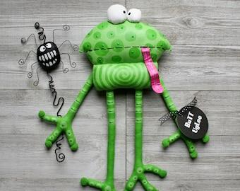 BuTT UgLee Frog named Simon and Spider named Schuster, Unique wall art,OOAK frog art, great gift for frog lovers, teacher gift, whimsical