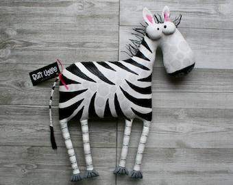 ZeBra Named MyLanTa, Whimsical Wall Art, OOAK Soft sculpture, Humorous Home Decor, Zoo ZnimaL Art, Nursery decor, FunKy ART, quirky Zebra