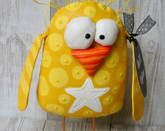 BuTT UgLee Chick named PecK ... Humorous HomE DecoR... WhimsicaL Soft Sculpture.. FrEE standing ... Chicken  Collector ... Baby Nursery