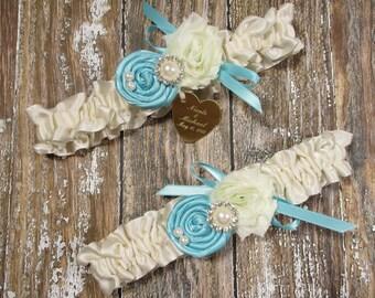 08dacb5f8 Ivory and Robin s Egg Blue Wedding Garter Set with Handmade Roses