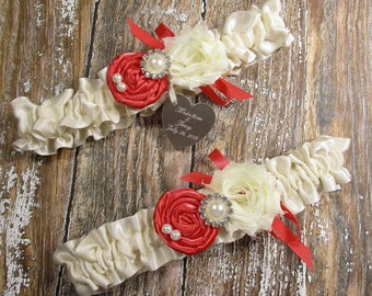 Ivory Lace Wedding Garter Set with Scarlet Red Roses and Personalized Engraving
