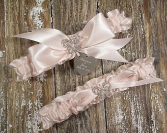 Blush Butterfly Wedding Garter Set, Personalized Wedding Garters in Satin with Rhinestone Butterflies