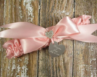 Personalized Pink Wedding Garter, Bridal Garter with Engraving and Brilliant Rhinestone Heart