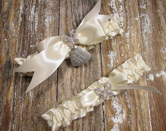 Personalized Ivory Butterfly Wedding Garter Set with Rhinestone Butterflies