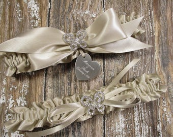 Personalized Butterfly Wedding Garter Set in Champagne with Rhinestone Butterflies