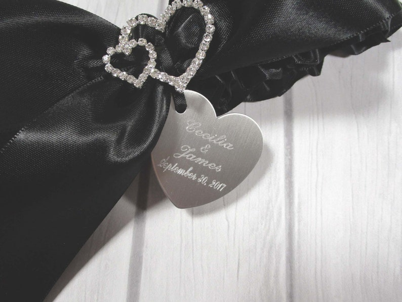 Black Wedding Garter Set with Linked Rhinestone Hearts and Personalized Engraving of Your Names and Wedding Date