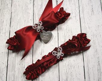 Personalized Red Wedding Garter Set with Rhinestone Butterflies