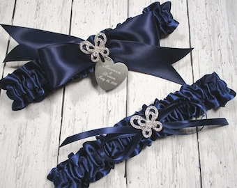 Personalized Navy Blue Butterfly Wedding Garter Set, Bridal Garters with Rhinestone Butterflies and Engraving