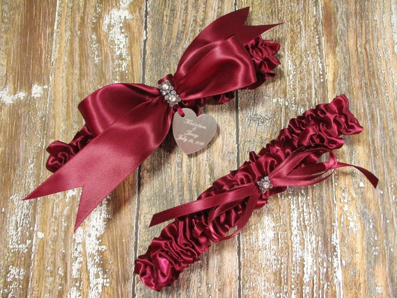 Personalized Bridal Garter with Rhinestone Linked Hearts and Engraving Red Wedding Garter