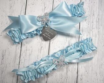 Personalized Blue Butterfly Wedding Garter Set, Personalized Bridal Garters with Rhinestone Butterflies