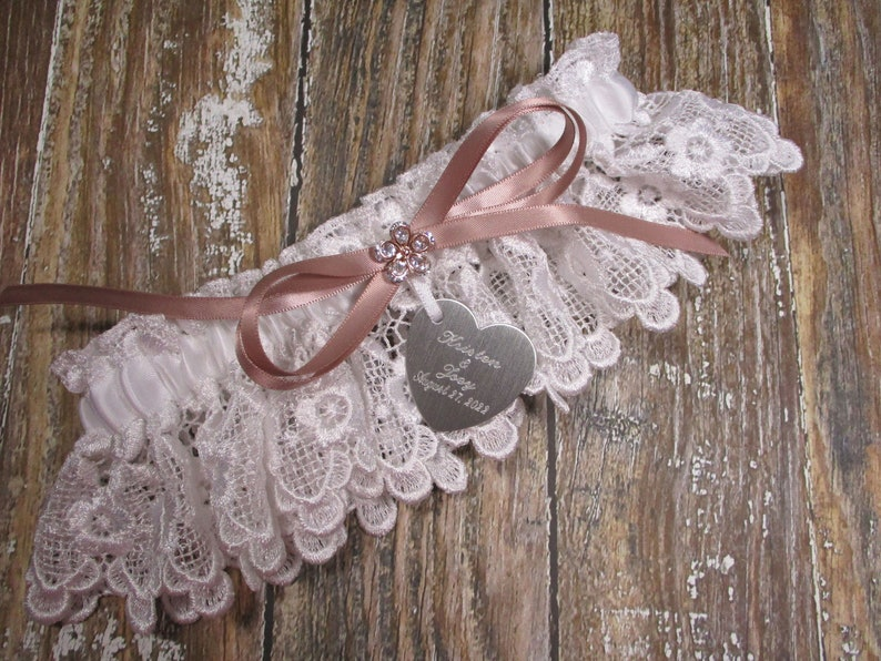 Rose Gold and White Lace Personalized Wedding Garter with Engraving and Rhinestones