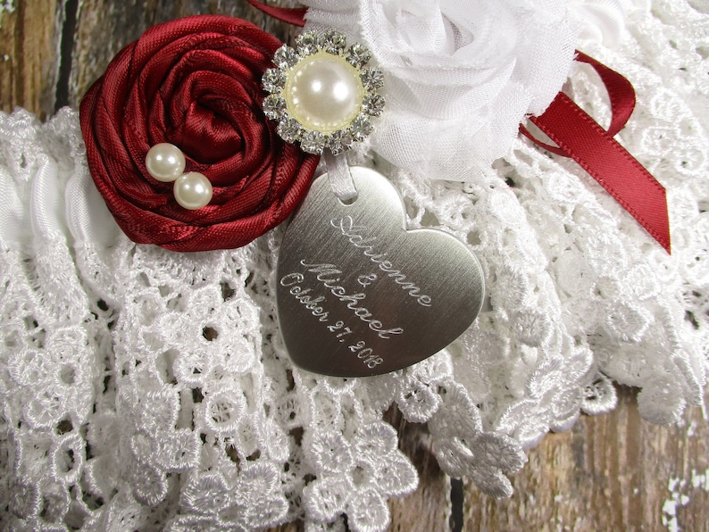 Pearls White and Red Wedding Garter Set in Lace with Roses Rhinestones and Personalized Engraving