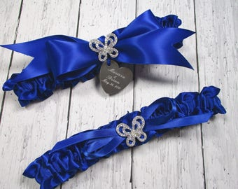 Personalized Royal Blue Wedding Garter Set with Rhinestone Butterflies and Engraving