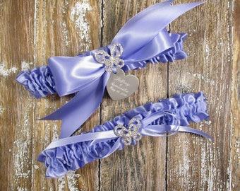 Personalized Iris Purple Butterfly Wedding Garter Set, Personalized Bridal Garters with Rhinestone Butterflies