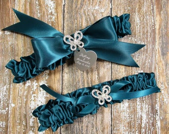 Teal Butterfly Wedding Garter Set with Personalized Engraving and Rhinestone Butterflies