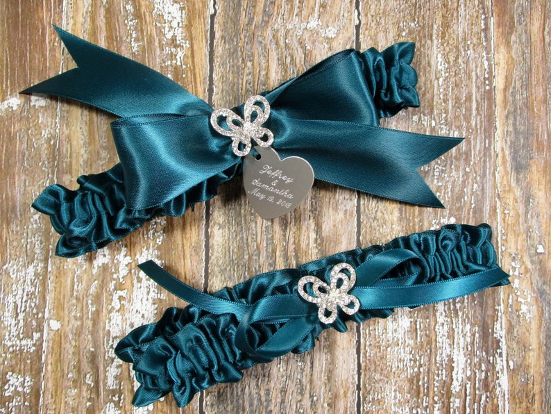 Teal Butterfly Wedding Garter Set with Rhinestone Butterflies and Personalized Engraving