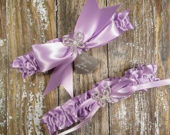Lavender Butterfly Wedding Garter Set, Personalized Wedding Garters in Satin with Rhinestone Butterflies