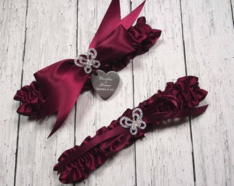 Burgundy Wedding Garter Set with Rhinestone Butterflies and Personalized Engraving