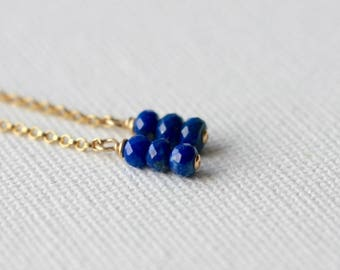 Faceted Lapis Lazuli Dangle Earrings