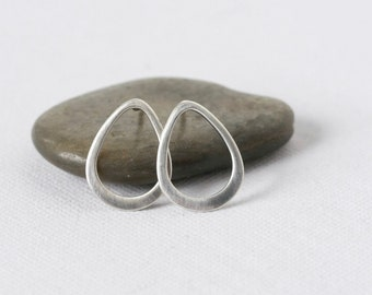 Minimalist Sterling Silver Teardrop Post Earrings