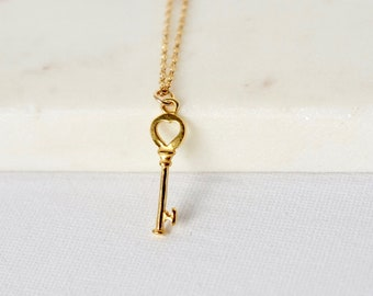 Gold Skeleton Key Layering Necklace