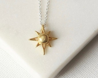 Gold North Star Charm Necklace