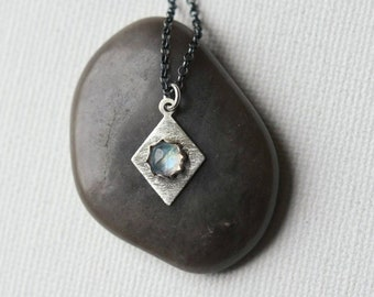 Oxidized Silver Geometric Rainbow Moonstone Necklace