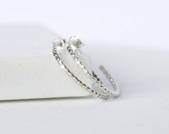 Hammered Sterling Silver Beaded Hoop Earrings