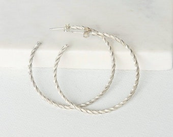 Big Sterling Silver Hoop Earrings