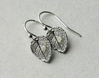 Sterling Silver Small Leaf Dangle Earrings